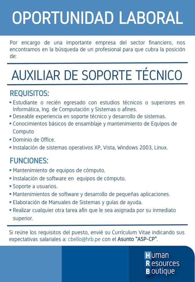 Funciones de soporte tecnico