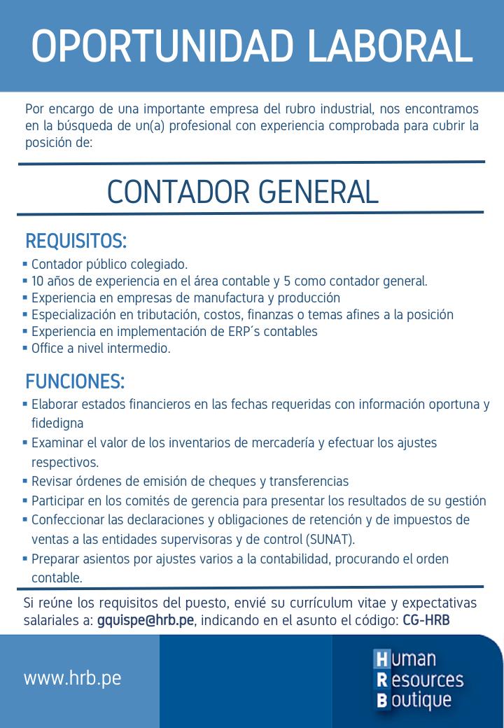 CONTADOR GENERAL - Human Resources Boutique